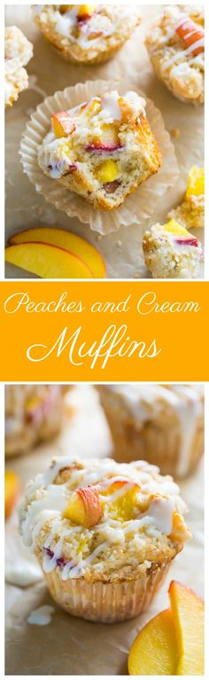 These moist and fluffy Peaches and Cream Muffins are sure to make you weak at the knees! These moist and fluffy Peaches and Cream Muffins are sure to make you weak at the knees! Donut Muffins, Peach Muffins, Desserts With Oats, Just Desserts, Dessert Recipes, Breakfast Recipes, Breakfast Dishes, Recipes Dinner, Breakfast Ideas