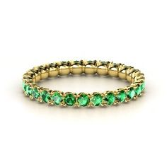 Brilliant Pod Band, Yellow Gold Ring with Emerald from Gemvara