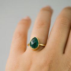 Green Onyx Stacking Ring  Gemstone Ring  Gold Ring  by delezhen, $66.00