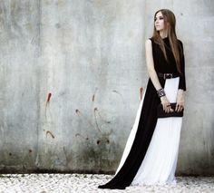 Lookbook elegant black and white dress.