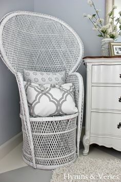 Thrift Store Wicker Peacock Chair - White Spray Paint Update  #hymnsandverses