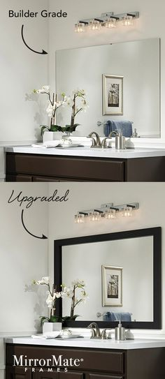Here's an easy upgrade for a builder basic wall mirror - add a custom MirrorMate frame directly to the mirror while it's on the wall.   65 frame styles at www.mirrormate.com.                                                                                                                                                                                 More