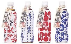 Suntory bottles (tea) Pattern design that connotes to the traditional Japanese imagery seen in their culture. Colours are also simplified and traditional.