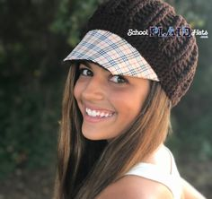 Dark chocolate brown cabled hat with tan, black & red tartanplaidfabric brim. Two different looks with the same hat: wear it one way with the corner buttons showing and a fabric lining or tur… Cute Fall Fashion, Winter Fashion, Plaid Fabric, Loom Knitting, Tartan Plaid, Refashion, Dark Brown, Style Inspiration, Hat