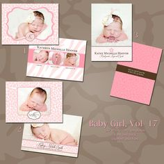 Baby Birth Announcement Photoshop PSD Photo by rememberwhendesign, $9.00
