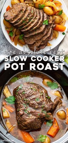 Set it and forget it with THE BEST Slow Cooker Pot Roast that delivers the most unbelievable tender meat, vegetables, and flavorful gravy. Come home to a wonderful complete meal that only takes 15 minutes to put together in the crock pot. The pinnacle of classic comfort food for an awesome weeknight dinner. I promise this will be your new pot roast recipe go to! Slow Cooker Roast, Best Slow Cooker, Crock Pot Slow Cooker, Slow Cooker Recipes, Cooking Recipes, Game Recipes, Recipies, Pot Roast Recipes, Crockpot Recipes