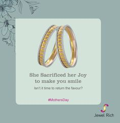 She sacrificed her joys to make you smile. Isn't it time to return the favour?  #Invest in #Goldsavingsschemes at jewelrich.com #happymotherday #mothersday #diamond #bangles #mothersdaygift