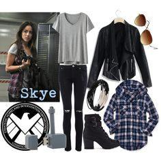 """Skye"" by beetlescarab on Polyvore.  Inspired by Skye from Marvel's Agents of SHIELD.  Cool hacker girl chic."