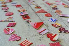 Upcycled Valentine Garland using colorful cardboard boxes-could be done with fabric too. Projects For Kids, Sewing Projects, Project Ideas, Craft Ideas, Cardboard Boxes, Cardboard Packaging, Cereal Boxes, Arts And Crafts, Paper Crafts