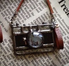 Stained glass camera ornament