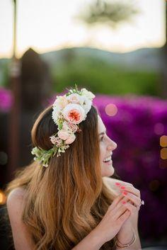 Peach David Austin Rose Flower Crown | Bride in Suzanne Neville Wedding Dress & Flower Crown | Outdoor Ibiza Destination Wedding | Gypsy Westwood Photography | Infin8 Film