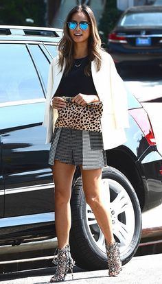 jamie-chung-lace-up-sandals-checkered-shorts-2