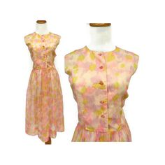 60s Sundress / 60s Floral Dress / Sheer Floral Dress / Watercolor Dress / Chiffon Dress / 60s Day Dress / Large 60s Dress / Pink Dress