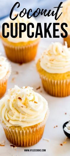Light, fluffy coconut cupcakes with a creamy and dreamy frosting, topped with toasted coconut. Perfect for birthdays, special occasions or .. Tuesdays. #coconut #cupcakes #baking #celebration #birthday #kyleecooks New Year's Desserts, Easy No Bake Desserts, Strawberry Desserts, Homemade Desserts, Best Dessert Recipes, Desert Recipes, Cupcake Recipes, Sweet Recipes, Cookie Recipes