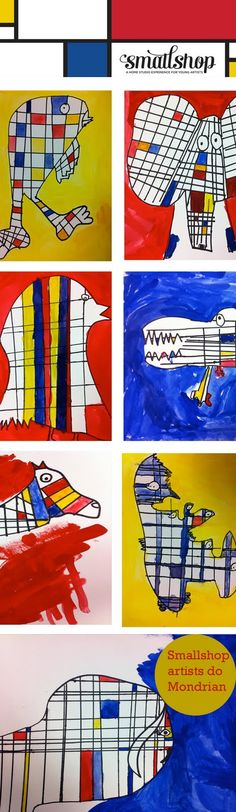Mondrian inspired animal/creature paintings.