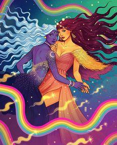 Art And Illustration, Fantasy Kunst, Fantasy Art, Dope Kunst, Psy Art, Lesbian Art, Goddess Art, Witch Art, Hippie Art