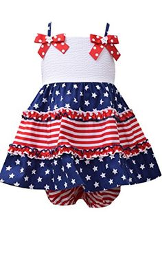 0f9cb45375da Bonnie Jean Baby Girl s 4th of July Stars and Stripes Dress (6-9 months