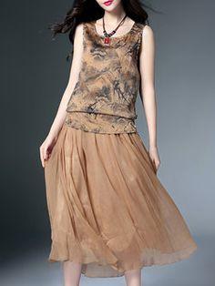 Sleeveless Silk Two Piece Vintage Crew Neck Midi Dress