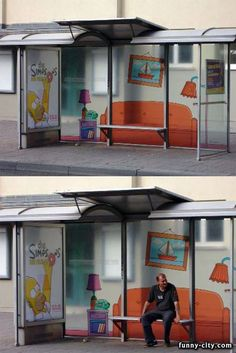 The Simpsons Bus Stop Advertisement. Another way to see the world behind the marketing advertisement. http://arcreactions.com/