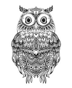 Owl-hand drawing-Detail-pattern-Aztec #graphic #art #hand drawing