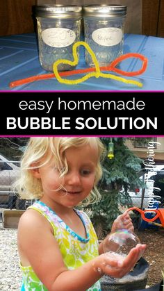 Learn how to make DIY bubbles solution in this easy activity for kids. If you have a few simple ingredients, your kids can be blowing homemade bubbles in minutes. Get tips for making wands if you don't have any to reuse too! #bubbles #homemadebubbles #diybubbles #forkids #kidsactivities #kidscrafts #homeschool #homeschoolideas #science #scienceexperiments #springactivities #diy #howto #makeityourself #doityourself #ideasforkids #activitiesforkids #homeschoolactivities #summer #summerideas Water Games For Kids, Indoor Activities For Kids, Fun Crafts For Kids, Summer Activities, Family Activities, Homemade Moon Sand, Homemade Bubbles, Summer Fun List, Summer Kids