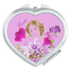 Vintage Fan Lady Pink Heart Compact Mirror by #MoonDreamsMusic # CompactMirror #PinkHearts #VintageLady  #ShabbyChic