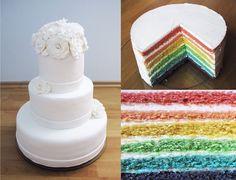 White wedding cake, rainbow cake inside