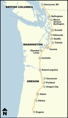 Amtrak Cascades route map.  Kelso to Seattle. Great trip.