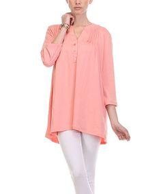 Peach Pin Tuck Button-Front Top - Women