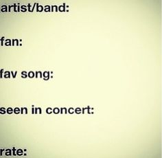 Comment a band or artist!