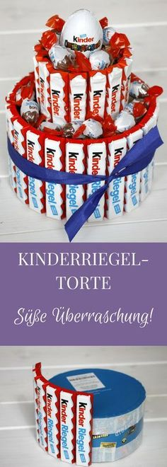 A Kinderriegel cake is a creative gift idea for chocolate lovers. How you can make a children's bar cake, we show you like. Of course, you can stick the candy cake with other sweets. But a Kinderriegeltorte as a gift is actually good at all, right? Creative Birthday Gifts, Diy Birthday, Birthday Presents, Creative Gifts, Birthday Ideas, Birthday Cake, Presents For Kids, Diy Presents, Chocolate Gifts