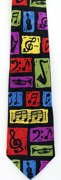 Technicolor Jazz Mens Necktie Musical Instruments Music Musician Gift Tie New #StevenHarris #NeckTie