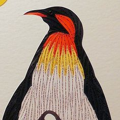 Quilled Penguin and Baby original framed handcrafted wall art paperart