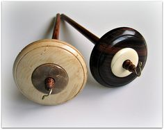 Top Whorl Drop Spindles with Fossil Ivory Inlay | Flickr - Photo Sharing!