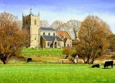 The church of St. John the Baptist, Holywell - spring time, Cambridgeshireprint - Painting from John Twinning Fine Art Prints