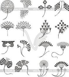 Einfache florale Ornamente im Jugendstil - vektorisiertes Clipart