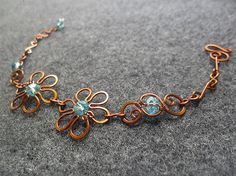 Copper bracelet  copper wire SPRING FLOWER combined by MakeMyStyle
