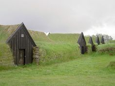 Earth covered farm homes in Keldur, Iceland. These were built in 1193, and are supposedly the oldest buildings in Iceland.