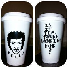 Lionel Richie Travel Ceramic coffee mug by TessaPalendat on Etsy, $28.00. LOL.