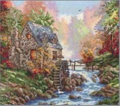 Cobblestone Mill - Thomas Kinkade Counted Cross Stitch Kit