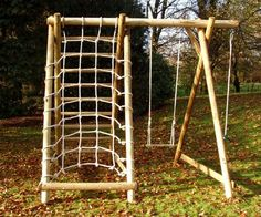 Single Swing Frame with Net Frame and Extension I Caledonia Play Kids Outdoor Play, Outdoor Play Spaces, Backyard For Kids, Kids Yard, Outdoor Toys, Wooden Swing Frame, Wooden Swings, Single Swing, Double Swing