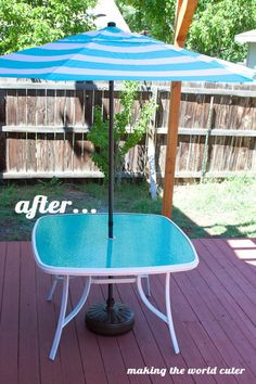 Here is an easy and super cute glass patio table makeover using paint! It is so easy to make your old ugly table into something unique and perfect!