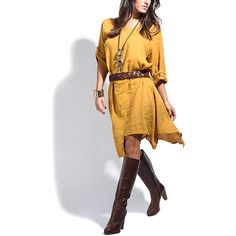 100% LIN Mustard Linen Handkerchief Dress ($50) ❤ liked on Polyvore featuring dresses, tall dresses, braid dress, long mustard dress, woven dress and long linen dresses