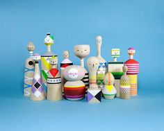 Artist Mark Giglio makes these super-cute retro modern kokeshi dolls.  #kokeshi #dolls