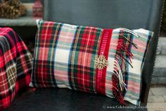 How To Make A Pillow Case From A Scarf, Plaid Scarf Pillow Case DIY, Make a pillow from a scarf, Christmas Pillow DIY, Celebrating Everyday Life with Jennifer Carroll Easy Diy Crafts, Xmas Crafts, Crafts To Do, Christmas Cushions, Christmas Pillow, Christmas Decor, Holiday Decor, No Sew Pillow Covers, Pillow Cases