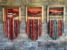 MADE TO ORDER. 3 handmade woven wall hanging. Made in Chile with natural wool, wood and driftwood from Lago Puyehue. Measures 17x31,4 inches each. Price includes the three of them. It takes me 3 weeks to do it and three more weeks the delivery.