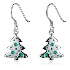 Christmas Tree Enamel Dangle Earrings (17 HKD) ❤ liked on Polyvore featuring jewelry, earrings, dangle earrings, christmas tree earrings, enamel jewelry, enamel earrings and long earrings