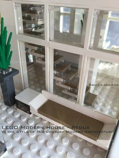 "LEGO Modern House - Redux - in the Style of Mid-Century Modern Architecture by Bricksare4me - as seen at BrickCan 2016 in Vancouver BC - awarded ""Best Edifice"" - front 2nd floor balcony"