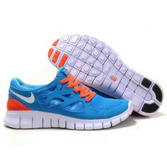 Women Nike Free Run 2 Shoes Blue Orange