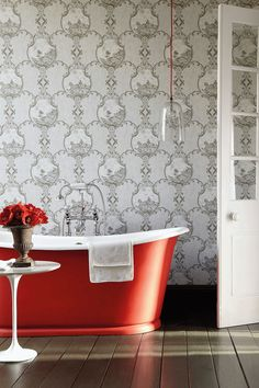 Decorating ideas for using coloured roll top baths in the home plus more decorating inspiration for the kitchen, living room and bathroom from Red Online. Bathroom Red, Bathroom Wallpaper, Small Bathroom, Bathroom Ideas, Rustic Bathrooms, Bath Ideas, Red Bathrooms, Bathroom Flowers, Glass Bathroom